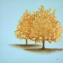 Gilded Morning II by Vincent George -  sized 25x25 inches. Available from Whitewall Galleries